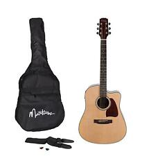 Martinez Acoustic-Electric Dreadnought Cutaway Guitar Pack (Natural Gloss)