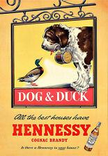 Bere HENNESSY COGNAC BRANDY cane e anatra BERE ALCOL PUB BAR STAMPA POSTER