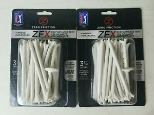Zero Friction ZFX 3-1/4 White Tees 2 Packs Of 30 Golf Tees Per Bag 4 Prong