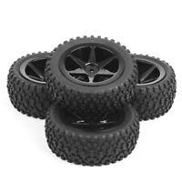 4PCS Off-Road Rubber Front Rear Tires Rims Set For RC 1:10 Buggy Car 25036+27011