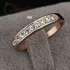Simple Rose Gold Plated CZ Channel Set Eternity Ring R078