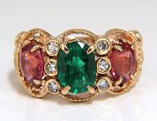 2.77ct natural Spinel Ruby ring three stone classic 14kt Mother ring