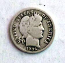1903 P Barber Dime  Early American Dimes - VF
