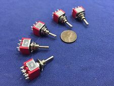 5 Pieces Momentary Mini Toggle Switch (ON)-OFF-(ON) 6 pin 12vdc dpdt 1/4 A5