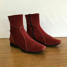 ⭐️ Womens Hogl Suede Leather & Gore-Tex Flat Ankle Boots Flats Red Size 4.5 7