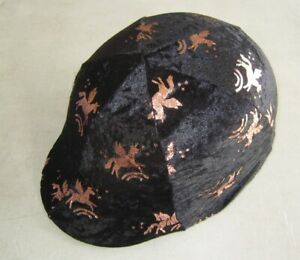 Horse Helmet Cover Black with unicorns Velveteen  AUSSIE MADE Choose your size
