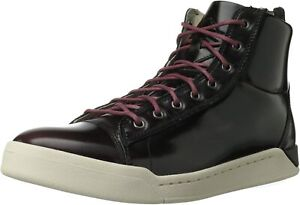 Diesel Mens DIAMOND Hi-Top Casual Fashion Oxblood Red Leather Shoe Sneaker US 8M