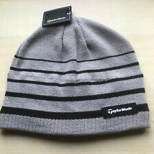 TaylorMade Golf Fleece Stripe Beanie Winter Thermal Hat Grey 33% OFF RRP
