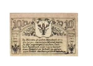 1920 Austria MUNZBACH 10 Heller Banknote / Notgeld