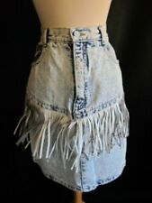 1980's Vintage 80's Acid Wash Denim Skirt with Leather Fringe London London 29W