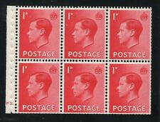KEDVIII 1d red  Booklet pane of 6 SG spec PB2 cylinder F3 dot Mounted mint