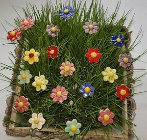 Keramik Blumen  Stecker, 10 Stück für  Muttertag als Geschenk HandgemachtGarten