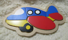 Child's Wood Puzzles Plane Car Boat Train Set of Four Hand Made Primary Colors