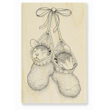 HOUSE MOUSE RUBBER STAMPS BOOTIE BABIES NEW WOOD STAMP