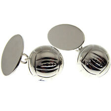 FOOTBALL SILVER CUFFLINKS. FULLY HALLMARKED AND MADE IN ENGLAND
