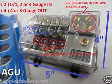 "2 IN 4 OUT AGU 0 1 4 8 Gauge Fuse Holder ""Eye Candy"" Car Truck Power Block 12V"