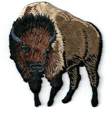 Buffalo - Bison - Brown - Embroidered Iron On Applique Patch - L