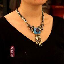 Collier Ethnique Tissu Fringe Metallique Bleu Fleur Retro Original Soirée QT 8