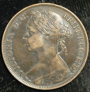 Penny 1884 Victoria Bun Head VF (T95)