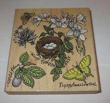 Orchid Collage Rubber Stamp Wood Thrust Nest Bird Wild Plum Tiger Swallowtail