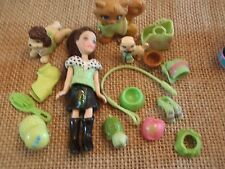 """Polly Pocket Lot """"Colors of the Rainbow"""" Doll Green Pets Cat Dog Accessory L34"""