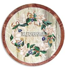 "18"" Marble Round kitchen Table Inlay Floral Work Marquetry Furniture Home Decor"