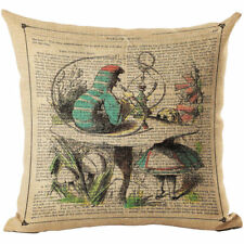 Alice in Wonderland Caterpillar Linen Square Pillow Cushion Cover.