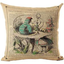 Alice in Wonderland Caterpillar Linen Square Pillow Cushion Cover.
