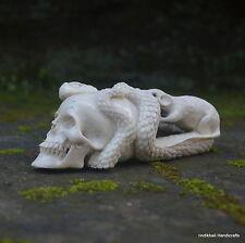 Skull Snake Rat Carved 127x47mm in Deer Antler Bali Carving ST569 Table Decor