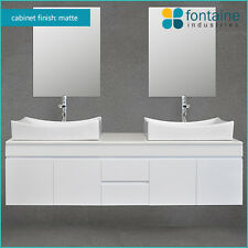 Bathroom Vanity 1500 Matte White Wall Hung Satin Ceramic Double Basin Stone SALE