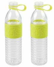 2 Pack Copco Hydra Reusable 20 Ounce Water Bottle Tethered Leak-proof Cap, Green