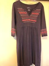 Natural Reflections Brown w/ embroidery 3/4 Slv Dress Large