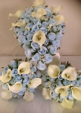WEDDING 6 PIECE PACKAGE LIGHT BLUE ROSES & IVORY CALLA LILLY SILK BOUQUET FLOWER