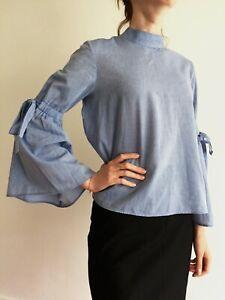 ZARA Z1975 Denim Cotton Shirt Top Blouse Size S Flared Sleeve Bow Back Buttons