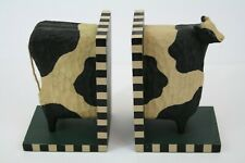 Wood Country Primitive Cow Book Ends
