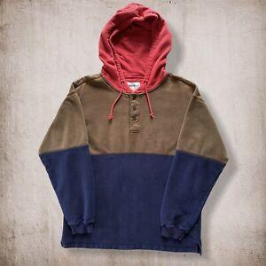 Vintage 90s Eddie Bauer Hoodie Sweatshirt - Men's Medium - Brown, Blue, Red