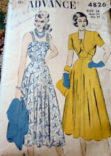 LOVELY VTG 1940s DRESS & JACKET ADVANCE Sewing Pattern 16/34