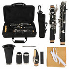 Clarinet Set 17 Key Wood Bb with Cleaning Cloth Reed Screwdriver Box for Party