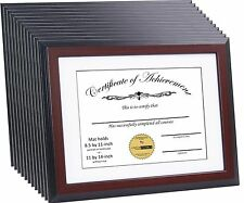CreativePF [11x14mh-w] Mahogany Document Frame Display 8.5 by 11-inch with Mat o