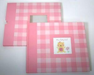 Hallmark Baby Girl Record Book in Sleeve Pink Plaid Yellow Bear Keepsake Shower