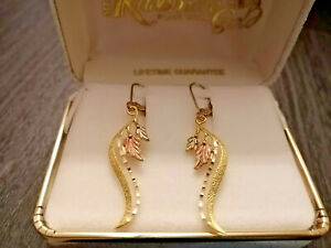 Black Hills Gold Tri-color 10K/12K Leaf Dangle Earrings comes with original box