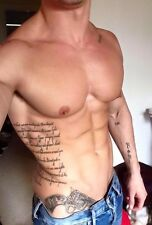 Shirtless Male Beefcake Muscular Hunk with Tattoos Pecs Abs Jeans PHOTO 4X6 C830