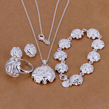 Sterling solid silver rose necklace&bracelet&earrings&ring Jewelry Sets XLSS296