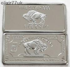 5 Gram pure 999 ammenda SOLID SILVER Buffalo LINGOTTO ART BAR LINGOTTO regalo UK