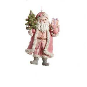 Kurt Adler Shabby Cottage Chic Pink Santa Christmas Ornament Holding Tree Style