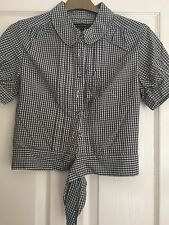 French Connection UK Size 6 Check Crop Shirt with tie