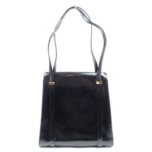 GUCCI Handbag enamel leather black