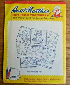 """NEW Vintage Aunt Martha's Hot Iron Transfers  #3748 """"Puppy Fun"""" 7 Days of Week"""