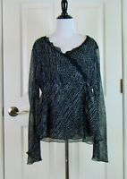 Bay Studio Career Sheer Lined Long Sleeve Black Gray Top Blouse - Size L Large