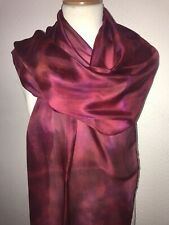 Long Silk Scarf in Dark Red 180 x 45 cm Hand Painted & Dyed by Designer Silk